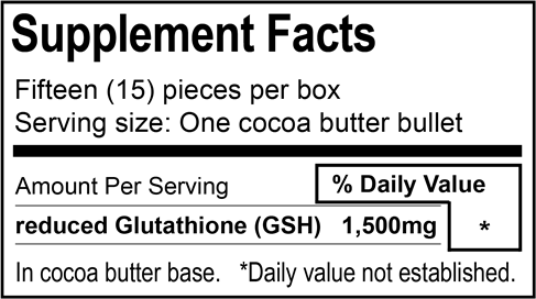 Quantity per Box: 15 Suppositories Ingredients: 15 x 1,500mg (22,500mg) reduced Glutathione, Cocoa Butter