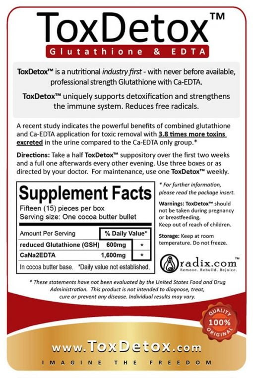 ToxDetox - Glutathione & EDTA synergy, with a free StopReabsorb bowel cleanse