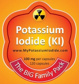 "Potassium Iodide, KI, (one bottle only), 100mg, 120 caps, the ""Big Family Pack"""