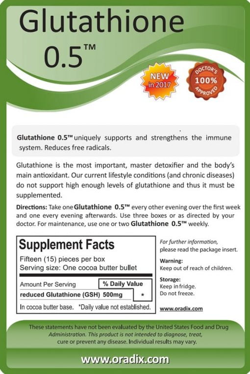Glutathione 0.5 Reduced (active) Glutathione, 500mg per suppository