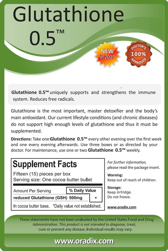 glutathione 05 reduced active glutathione 500mg per suppository