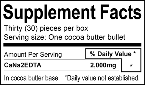 Quantity per Box: 30 Suppositories Ingredients: 30 x 2000mg (60,000mg) CaNa2EDTA, Cocoa Butter
